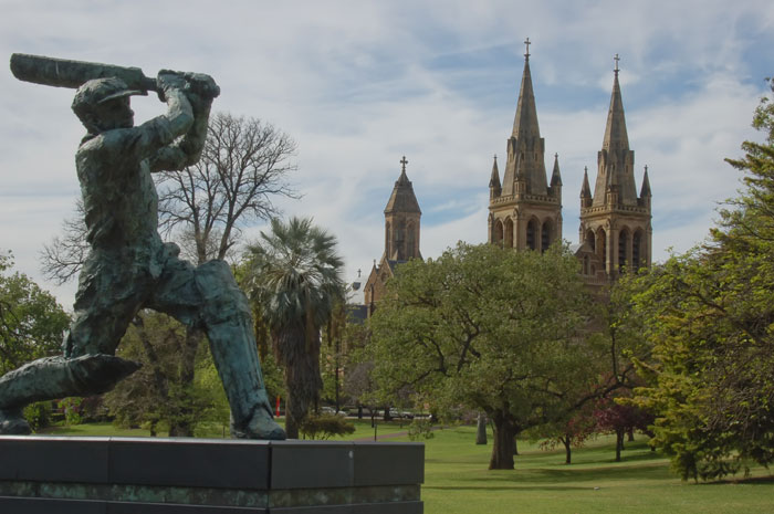 Statue of Sir Donald Bradman Outside the Adelaide Oval